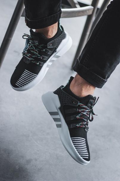 Мужские кроссовки Adidas EQT Bask Black/White чёрные. Размеры (40,42,43)