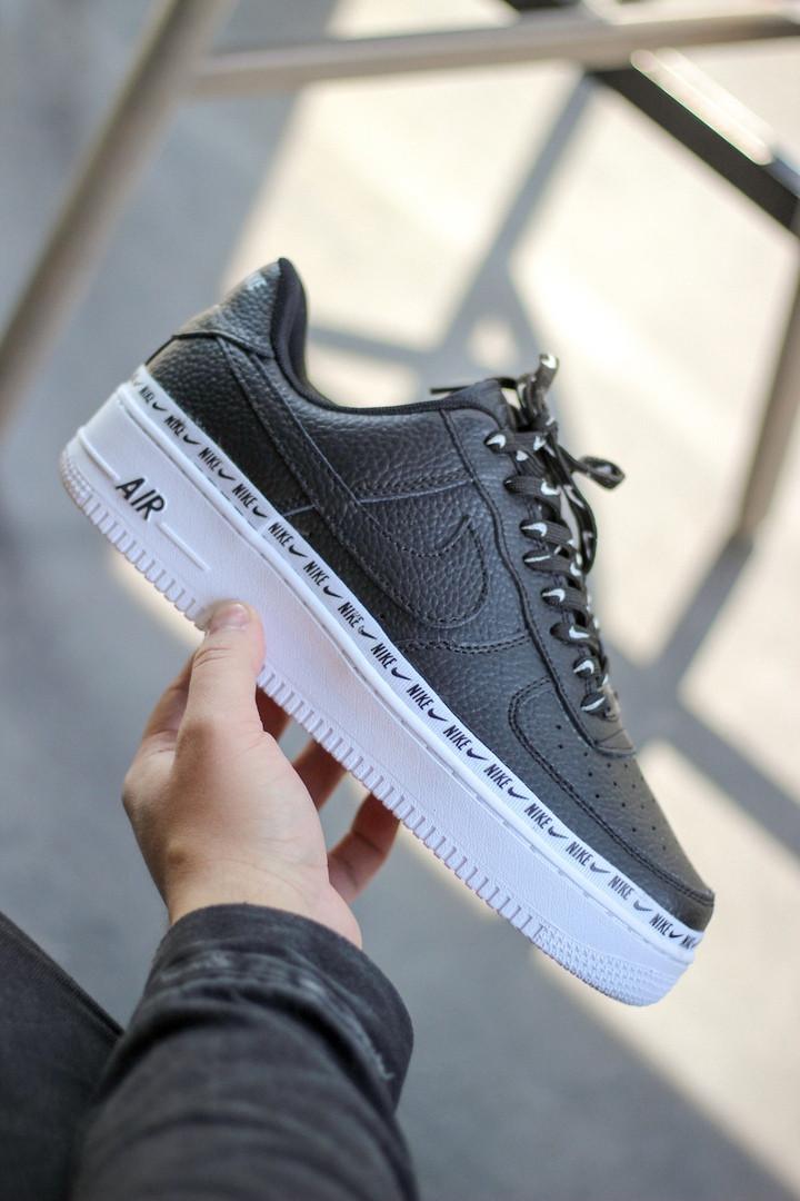 Мужские кроссовки Nike Air Force 1 SE Premium Black чёрные. Размеры (40,41,42,43,44)