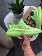 Мужские кроссовки Adidas Yeezy Boost 350 V2 Glow салатовые., фото 1