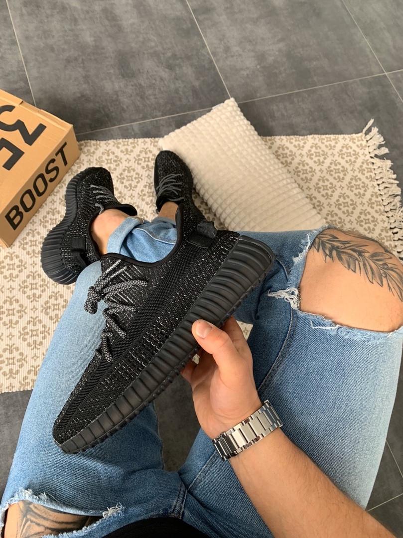Мужские кроссовки Adidas Yeezy Boost 350 V2 Black Reflective чёрные. Размеры (41,42,43,44,45)