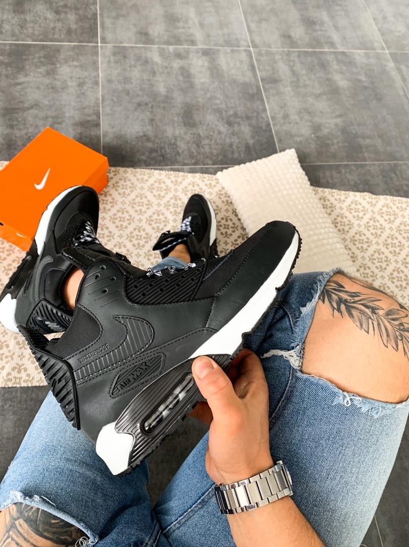 """Мужские кроссовки Nike Air Max 90 Sneakerboot """"Black/White"""" зима, чёрно-белые. Размеры (41,42,43,44,45)"""