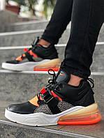 "Мужские кроссовки Nike Air Force 270 ""Black/Gray"" чёрно-серые. Размеры (40,41,42,43,44,45), фото 1"