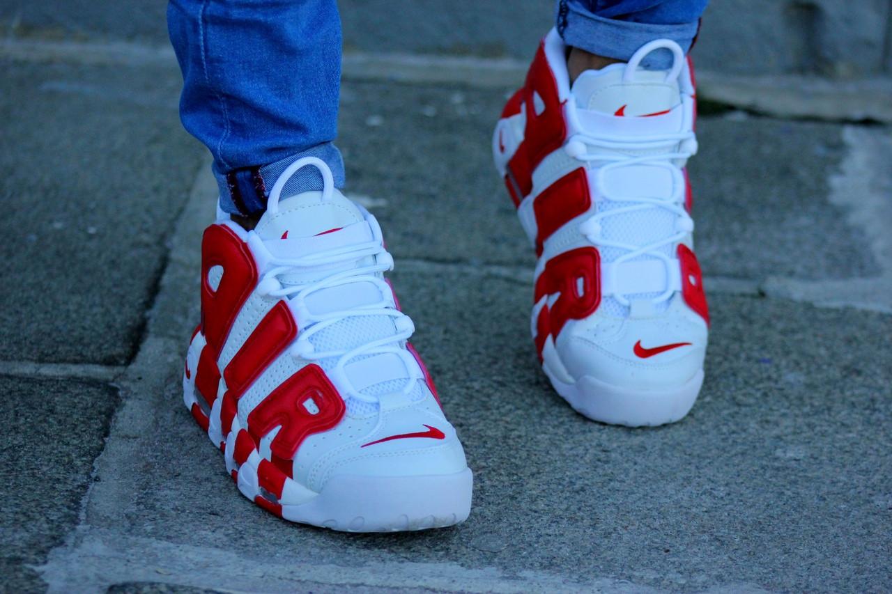 Мужские кроссовки Nike Air More Uptempo White/Red красно-белые. Размеры (42,44,45)