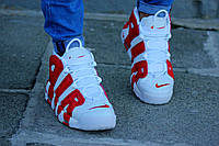 Мужские кроссовки Nike Air More Uptempo White/Red красно-белые. Размеры (42,44,45), фото 1