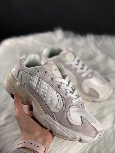 Мужские кроссовки Adidas Yung 1 White Grey, серо-белые.