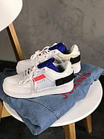 Мужские кроссовки Nike Air Force 1 White Red Orbit Black, белые., фото 1
