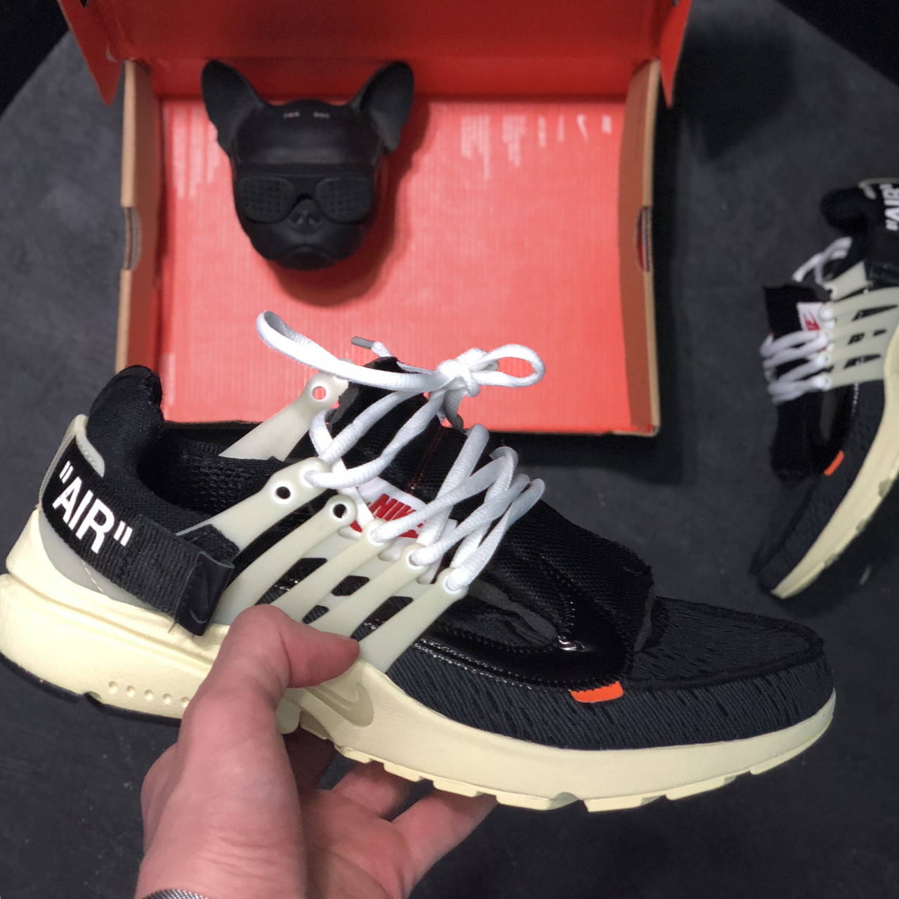 Мужские кроссовки Nike Air Presto Off white, чёрно-белые. Размеры (41,44,45)