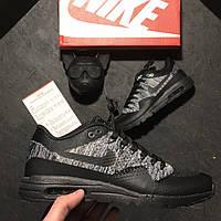 Женские кроссовки Nike Air Max 87 Flyknit Black Grey, чёрно-серые. Размеры (41,42,43,44,45)