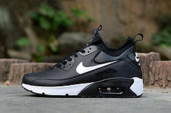Мужские кроссовки Nike Air Max 90 Ultra MID Winter Black (зима), чёрные. Размеры (40,41,42,43,44,45)