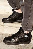 Мужские кроссовки  Air Jordan 1 Retro зимние (на меху), чёрные. Размеры (41,42,43,44,45,46), фото 1