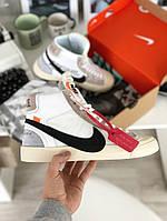 Мужские кроссовки Nike Blazer Mid x Off White, белые. Размеры (41,45)