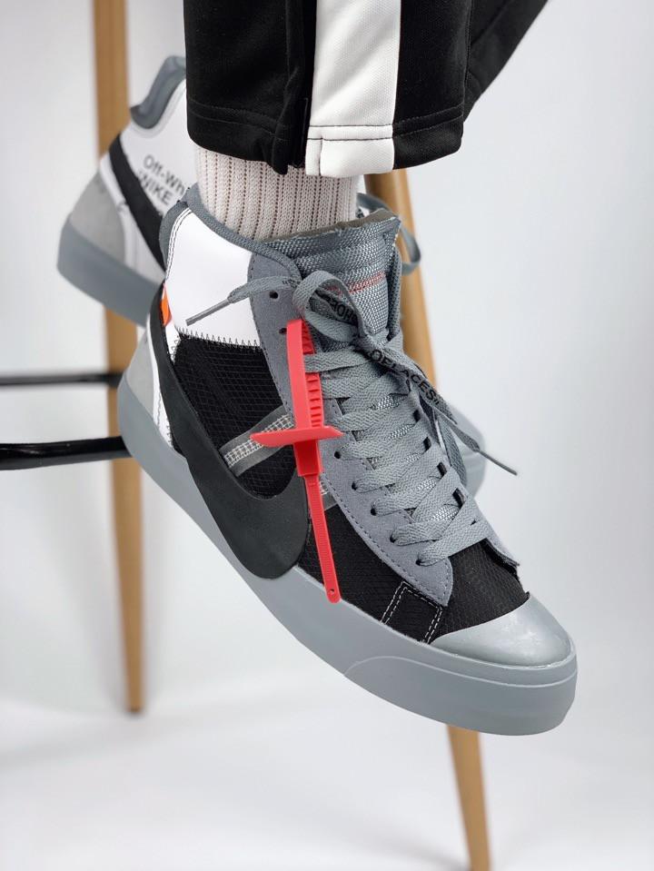Мужские кроссовки Nike Blazer Mid x Off White gray, серые. Размеры (41,42)