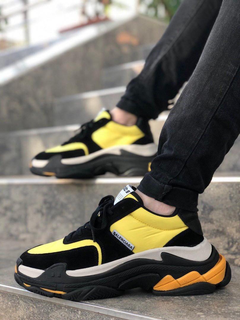 Мужские кроссовки Balenciaga Triple S Yellow Gray Black, жёлтые. Размеры (37,38,39,40,41,42,43,44,45)