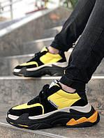 Мужские кроссовки Balenciaga Triple S Yellow Gray Black, жёлтые. Размеры (37,38,39,40,41,42,43,44,45), фото 1