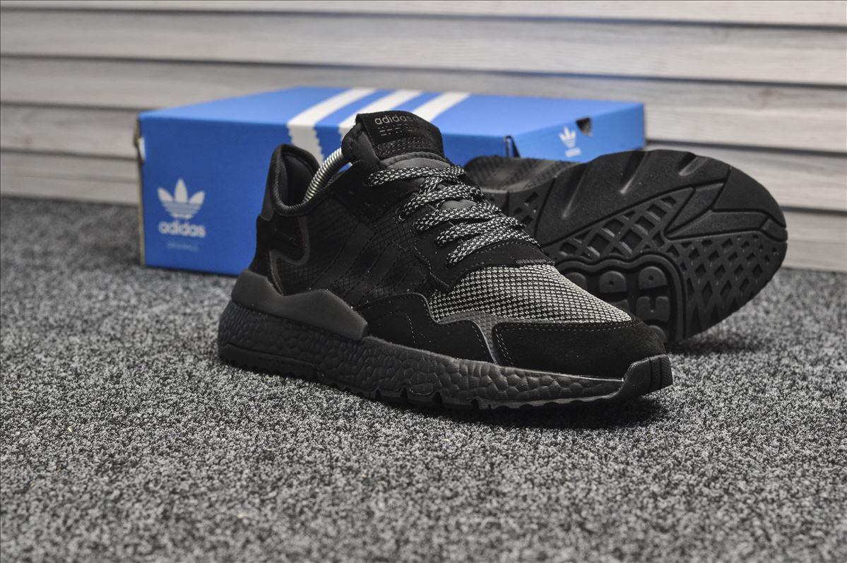 Мужские кроссовки Adidas Originals Nite Jogger Triple Black, чёрные. Размеры (42,43,44)