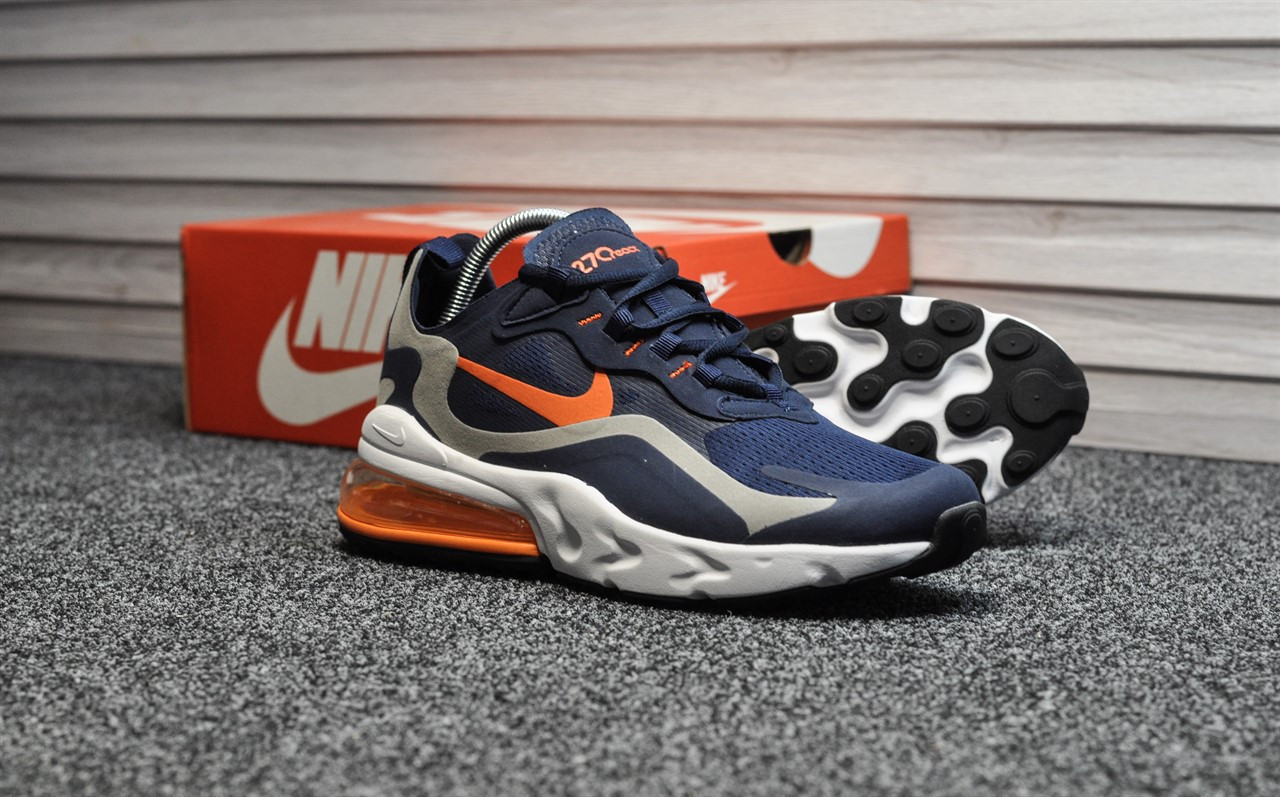 Мужские кроссовки Nike Air Max 270 react Blue Orange, синие. Размеры (41,42,44,45)