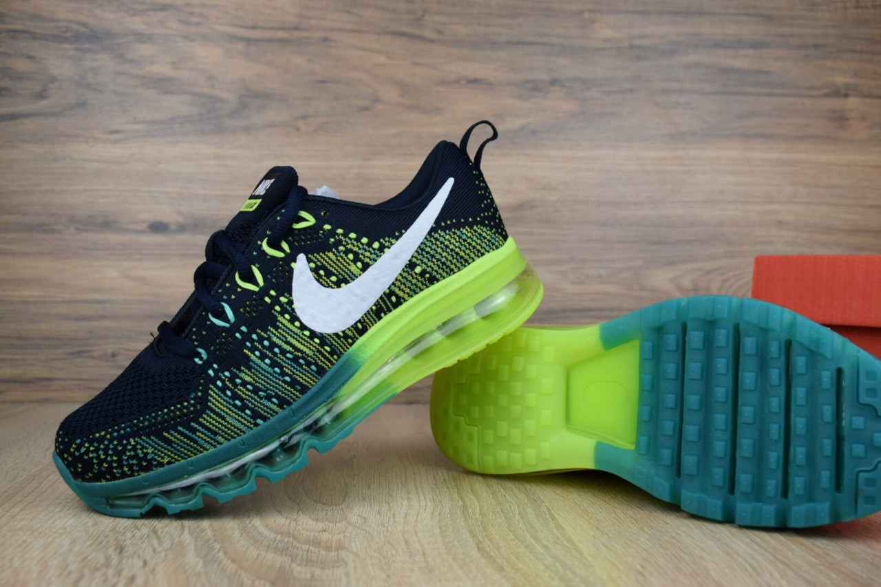 Мужские кроссовки Nike Air Max 2014 Colour, тёмно-синие с зеленым. Размеры (43,45,46)