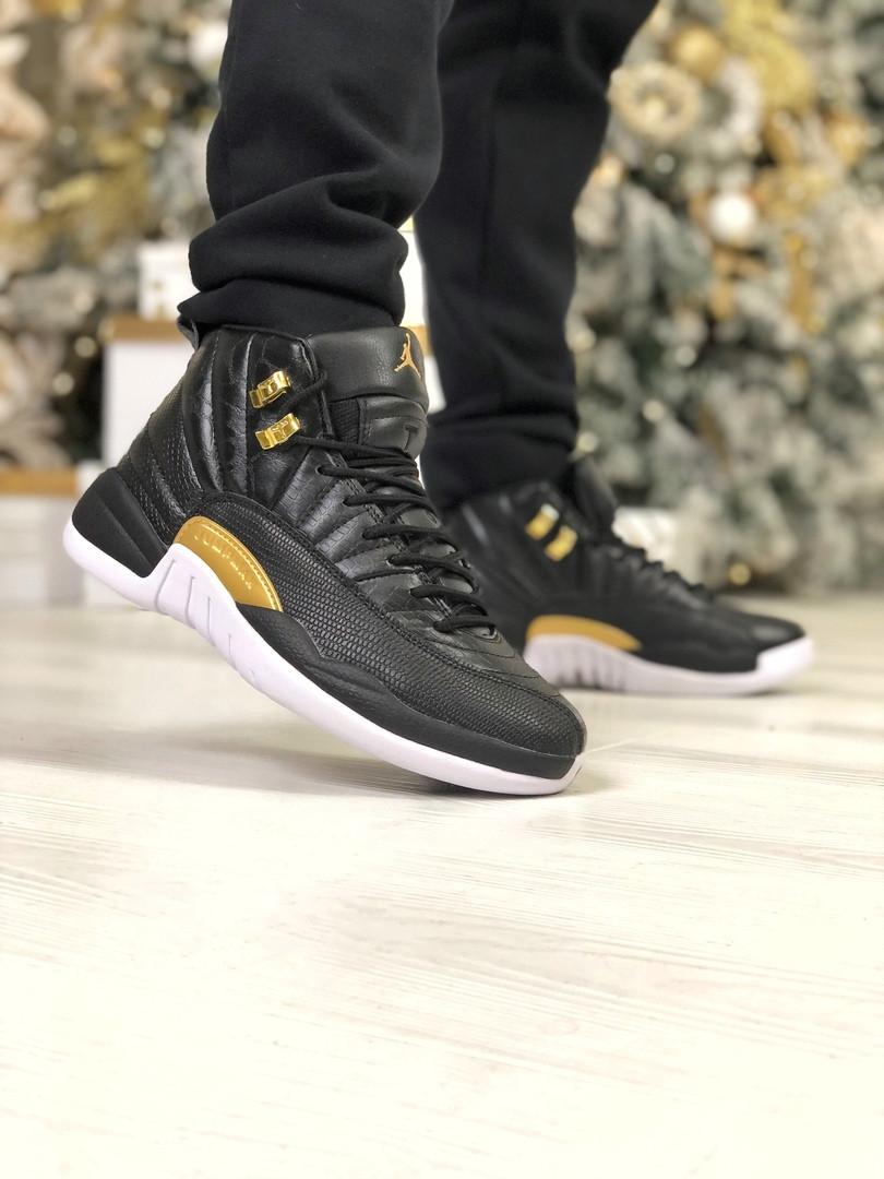 Мужские кроссовки Air Jordan 12 Retro Snakeskin Black, чёрные с золотом. Размеры (40,41,42,43,44,46,47)