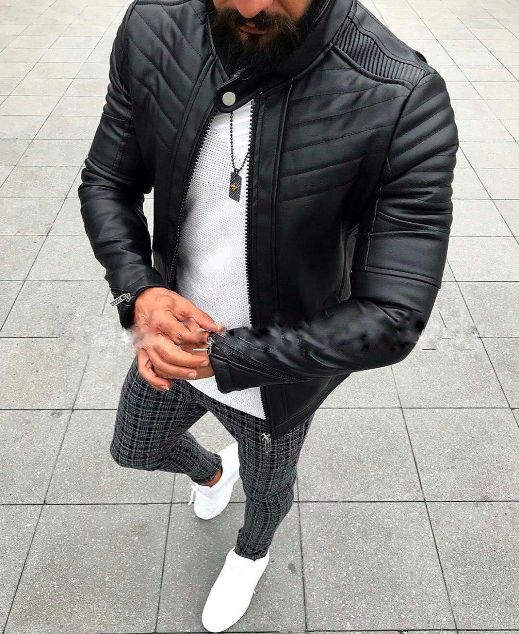 Стильная мужская куртка кожанка черная