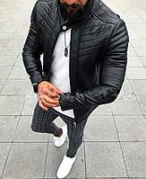 Стильная мужская куртка кожанка черная, фото 1