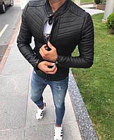 Стильна чоловіча шкіряна куртка чорна