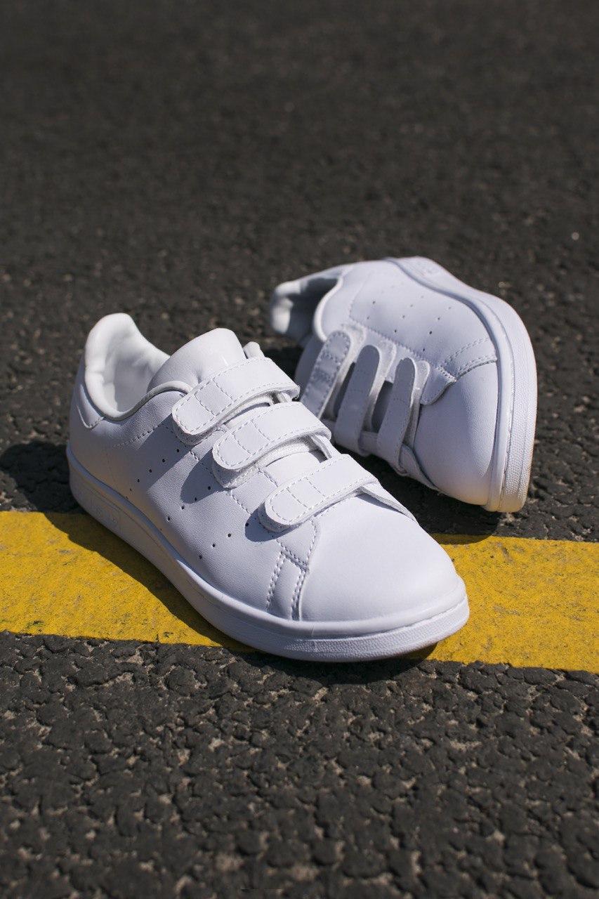 Кроссовки женские Adidas Stan Smith Velcro White (адидас стэн смит на липучке)