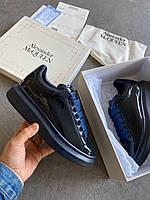 Кроссовки кеды женские Alexander McQueen Patent Blue (александер макквин)