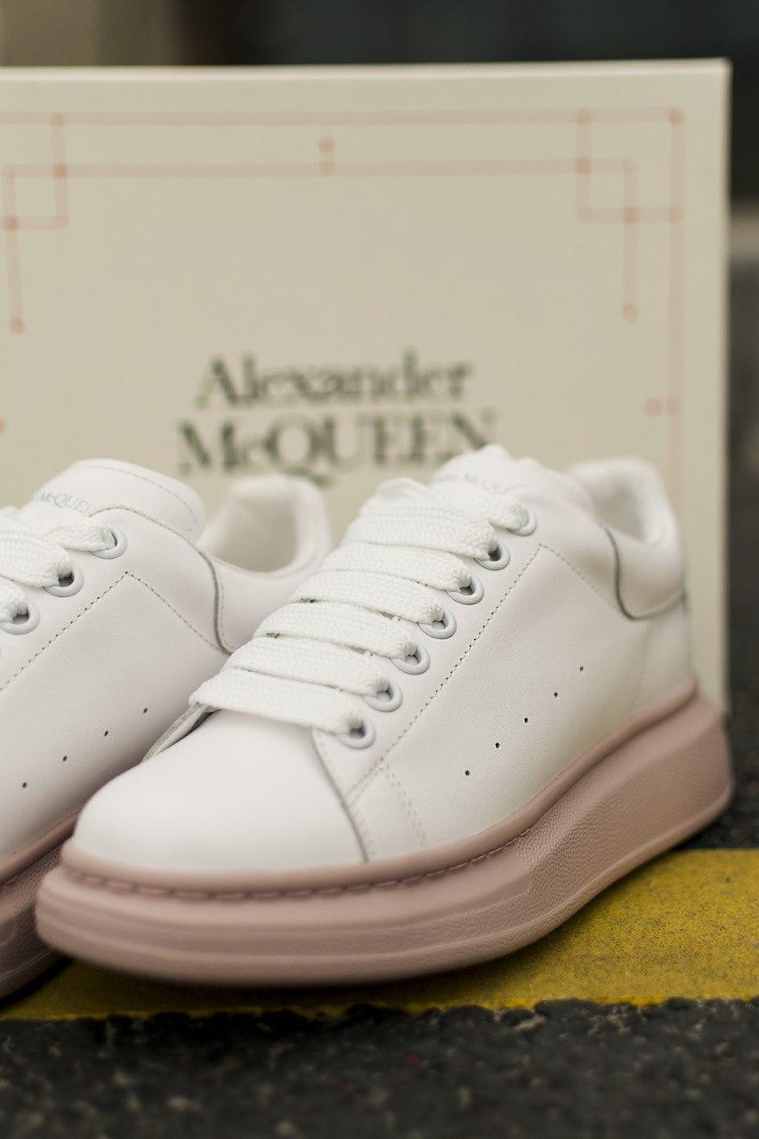 Кроссовки кеды женские Alexander McQueen White/Pink (александер макквин)