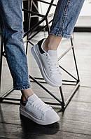 Кроссовки кеды мужские Alexander McQueen White/Black (александер макквин), фото 1