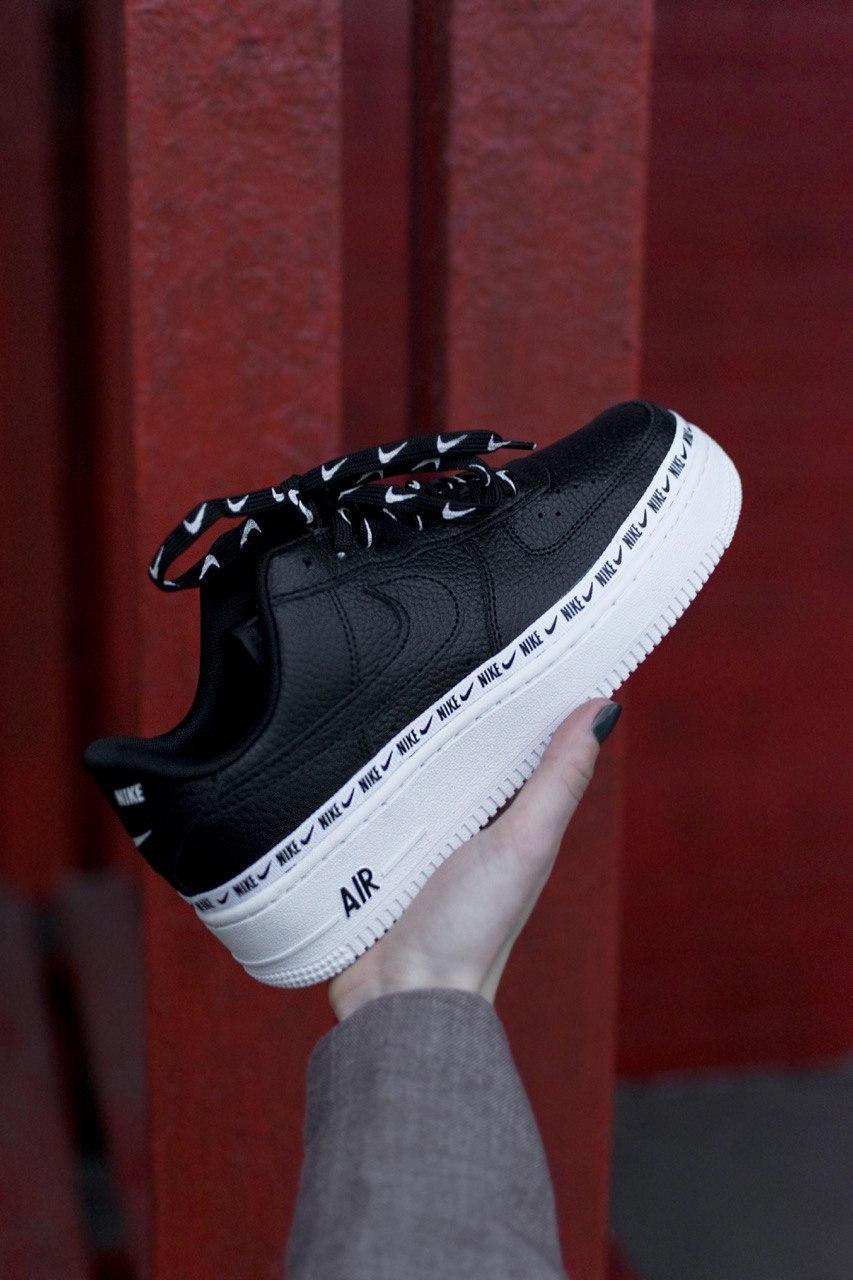 Кроссовки мужские Nike Air Force 1 SE Premium Black White (найк аир форс премиум)