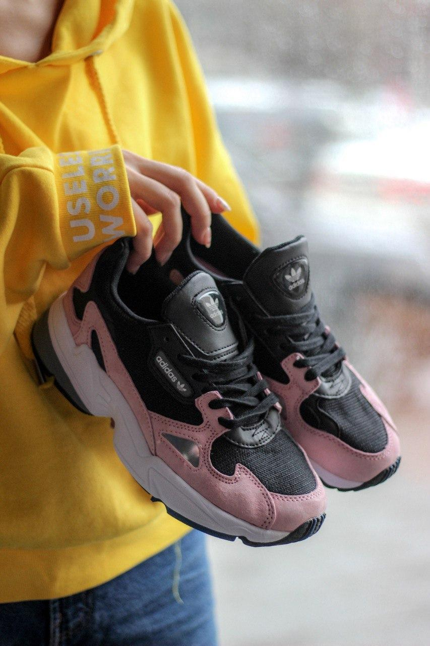 Кроссовки женские Adidas Falcon Black/Pink (адидас фалкон)