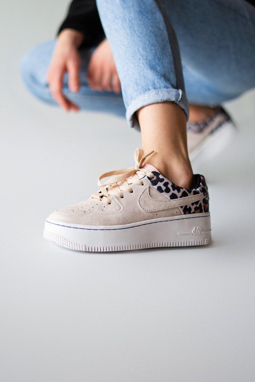 Кроссовки женские Nike Air Force Premium Leopard (найк аир форс леопард)