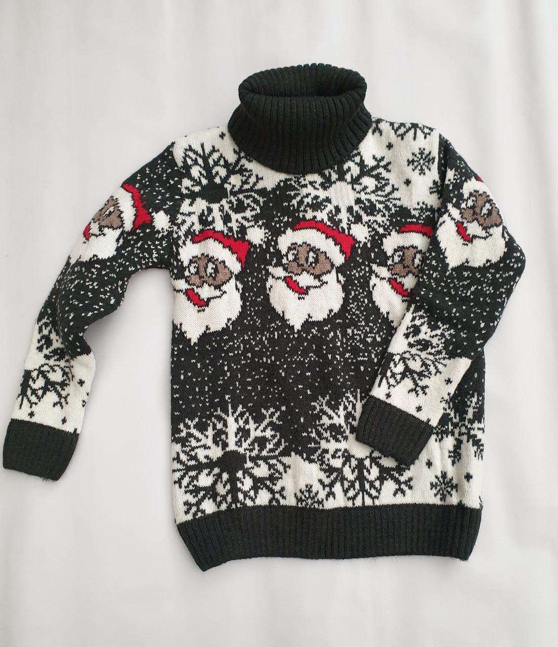 Новогодний свитер на мальчиков 2-6 лет Дед мороз изумруд