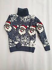 Новогодний свитер на мальчиков 2-6 лет Дед мороз изумруд, фото 2