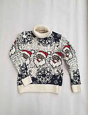 Новогодний свитер на мальчиков 2-6 лет Дед мороз изумруд, фото 3
