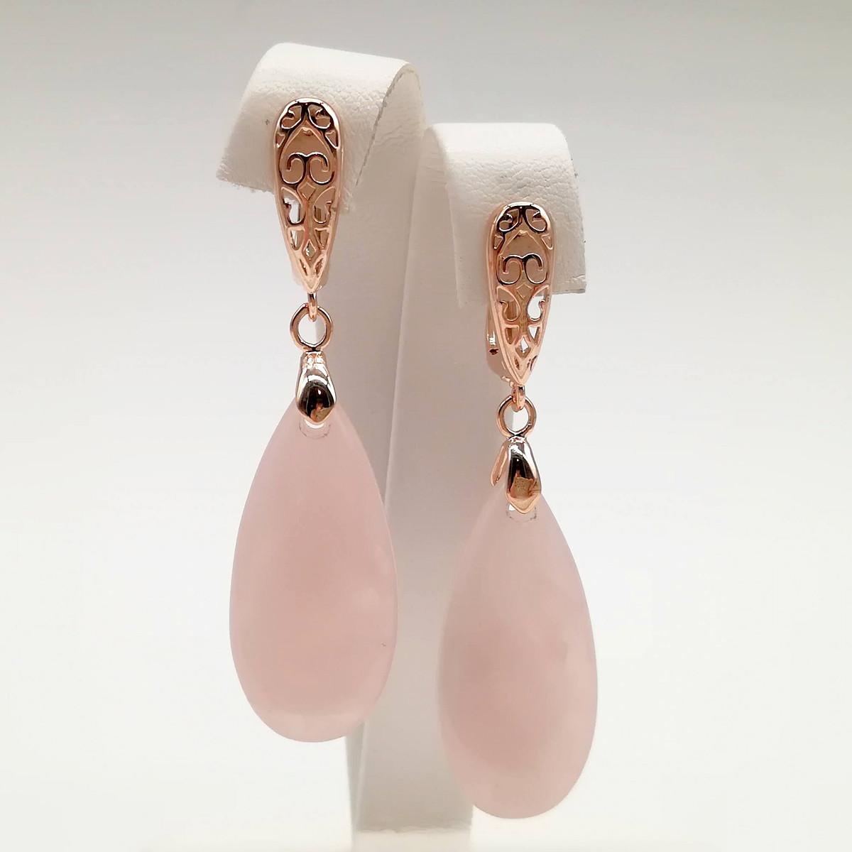 Серьги SONATA из медицинского золота, натуральный камень (розовый кварц), позолота PO, 24819               (1)