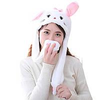 Шапка светящаяся с двигающимися ушами заяц кигуруми Кролик белая
