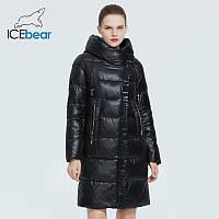 Пуховик зимний женский ICEbear. Куртка теплая удлиненная с капюшоном на биопухе (черный)