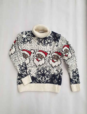 Новогодний белый свитер на мальчиков 2-6 лет Дед мороз, фото 2