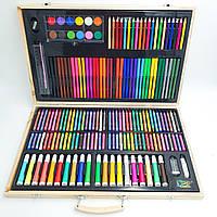 Набір для малювання та творчості 220 предметів художнього в дерев'яному валізі UKC