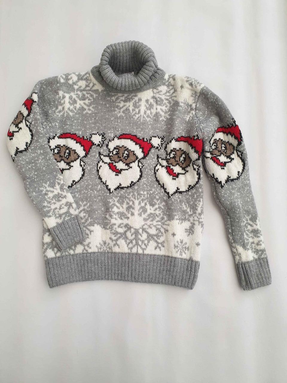 Новогодний свитер на мальчиков 2-6 лет Дед мороз