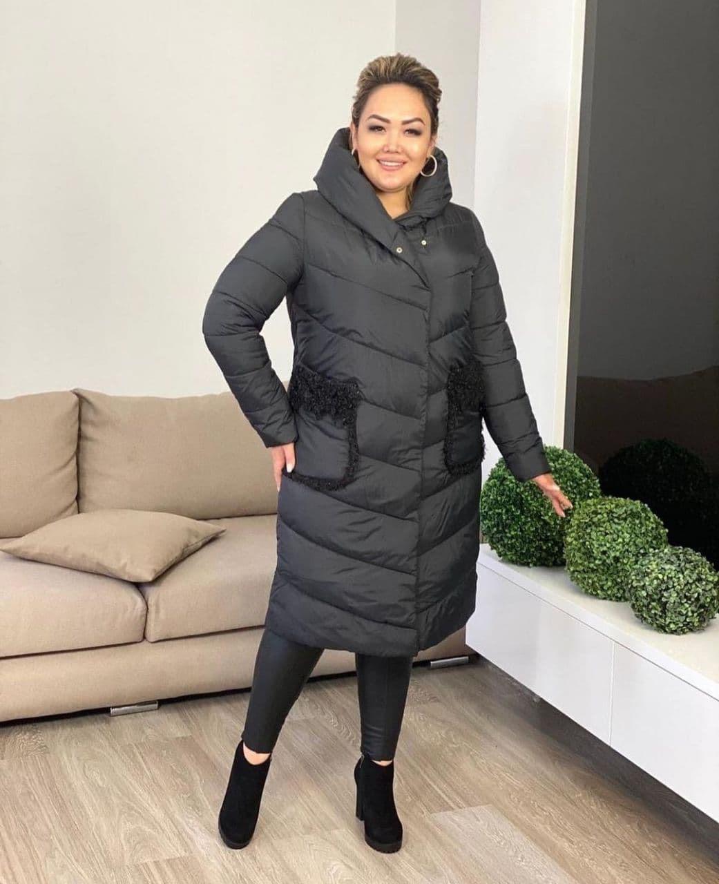 Куртка пальто женская батал зимняя тёплая длинная