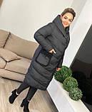 Куртка пальто женская батал зимняя тёплая длинная, фото 2