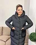 Куртка пальто женская батал зимняя тёплая длинная, фото 4
