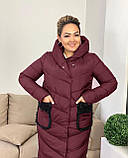 Куртка пальто женская батал зимняя тёплая длинная, фото 9