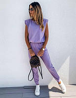 Замечательный яркий модный красивый женский летний брючный костюм, молодежный комплект с брюками