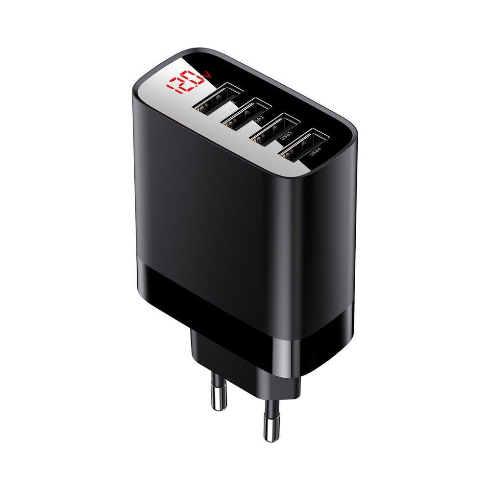 Сетевое зарядное устройство Baseus Mirror Lake Digital Display Black 4USB 30W 6A (CCJMHB-B01)