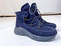 Женские ботинки-луноходы на шнуровке