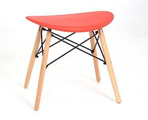 Табурет с пластиковым цельнолитым сиденьем и деревянными ножками Kris, фото 2