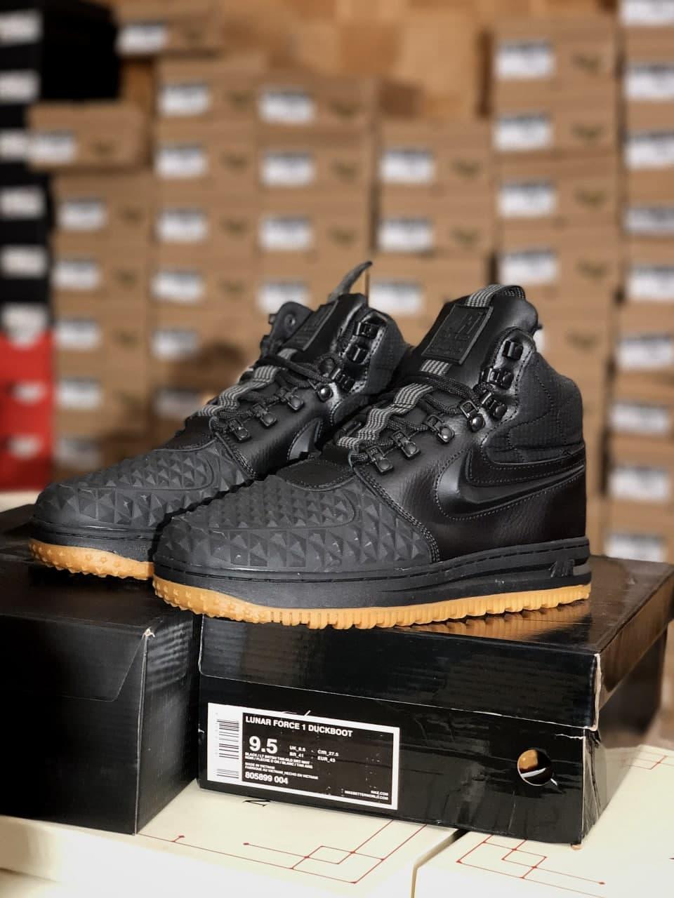 Мужские зимние кроссовки NIKE LF1 DUCKBOOT черные (копия)